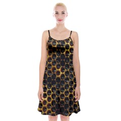 Hexagon Honeycomb Grid Pattern Spaghetti Strap Velvet Dress