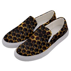 Hexagon Honeycomb Grid Pattern Men s Canvas Slip Ons by AnjaniArt