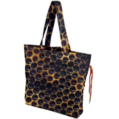 Hexagon Honeycomb Grid Pattern Drawstring Tote Bag by AnjaniArt