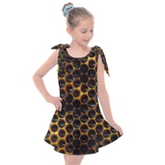 Hexagon Honeycomb Grid Pattern Kids  Tie Up Tunic Dress