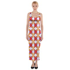 Hexagon Polygon Colorful Prismatic Fitted Maxi Dress by AnjaniArt