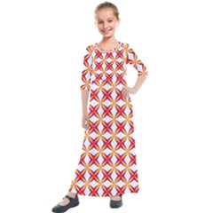 Hexagon Polygon Colorful Prismatic Kids  Quarter Sleeve Maxi Dress by AnjaniArt