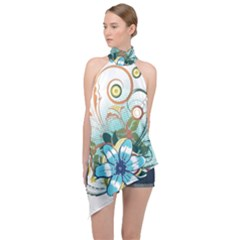 Flower Wallpaper Halter Asymmetric Satin Top