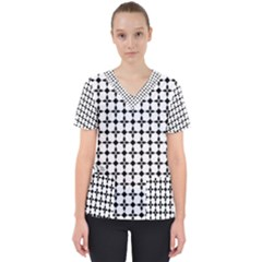 Decorative Ornamental Abstract Women s V Neck Scrub Top