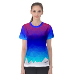 Gradient Red Blue Landfill Women s Sport Mesh Tee by Jojostore