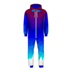 Gradient Red Blue Landfill Hooded Jumpsuit (kids)