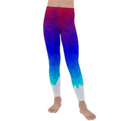 Gradient Red Blue Landfill Kids  Lightweight Velour Leggings by Jojostore