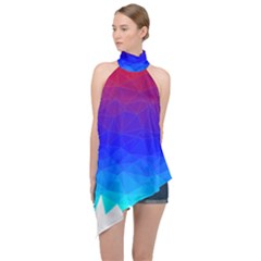 Gradient Red Blue Landfill Halter Asymmetric Satin Top by Jojostore