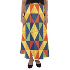 Geometric Color Flared Maxi Skirt by Jojostore