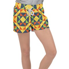 Geometric Color Women s Velour Lounge Shorts
