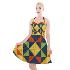 Geometric Color Halter Party Swing Dress