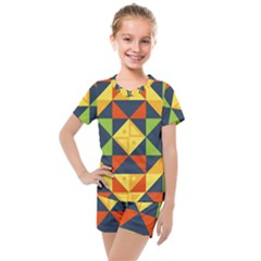 Geometric Color Kids  Mesh Tee And Shorts Set