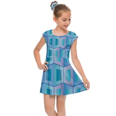 Geometric Background Pattern Kids  Cap Sleeve Dress by Jojostore