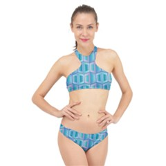 Geometric Background Pattern High Neck Bikini Set