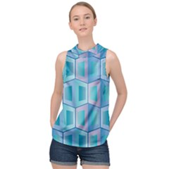 Geometric Background Pattern High Neck Satin Top by Jojostore
