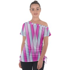 Geometric Chevron Pink Tie Up Tee by Jojostore