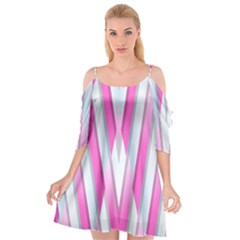 Geometric Chevron Pink Cutout Spaghetti Strap Chiffon Dress by Jojostore