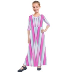 Geometric Chevron Pink Kids  Quarter Sleeve Maxi Dress by Jojostore