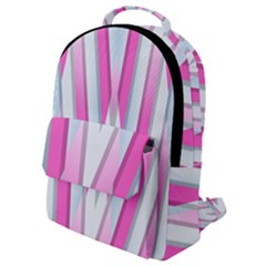 Geometric Chevron Pink Flap Pocket Backpack (small)