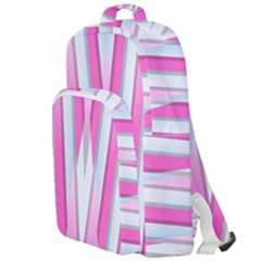 Geometric Chevron Pink Double Compartment Backpack