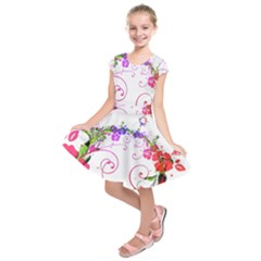 Flowers Floral Kids  Short Sleeve Dress by Jojostore