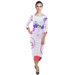 Flowers Floral Quarter Sleeve Midi Velour Bodycon Dress by Jojostore