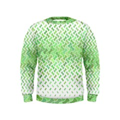 Green Pattern Curved Puzzle Kids  Sweatshirt