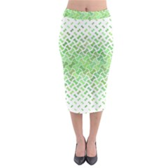 Green Pattern Curved Puzzle Midi Pencil Skirt