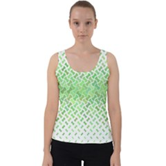 Green Pattern Curved Puzzle Velvet Tank Top