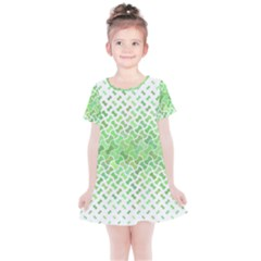 Green Pattern Curved Puzzle Kids  Simple Cotton Dress