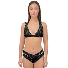 Grunge Pattern Black Triangles Double Strap Halter Bikini Set