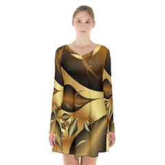 Fractals Background Texture Long Sleeve Velvet V Neck Dress