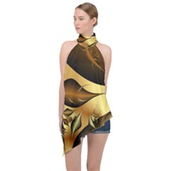 Fractals Background Texture Halter Asymmetric Satin Top by Jojostore