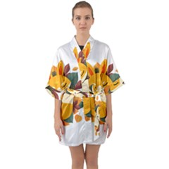 Fox Leaves Quarter Sleeve Kimono Robe by Jojostore