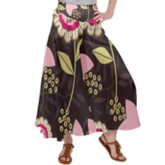 Flower Wallpaper Floral Satin Palazzo Pants by Jojostore