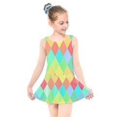 Low Poly Triangles Kids  Skater Dress Swimsuit