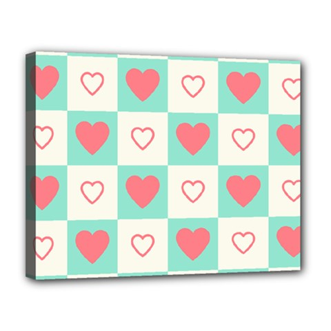 Heart Love Seamless Canvas 14  X 11  (stretched)