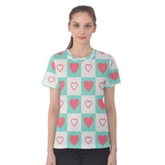 Heart Love Seamless Women s Cotton Tee by Jojostore