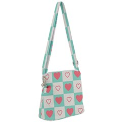 Heart Love Seamless Zipper Messenger Bag