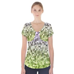 Irregular Rectangle Square Mosaic Short Sleeve Front Detail Top
