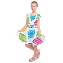 Leaf Chevron Kids  Short Sleeve Dress by Jojostore