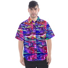 Paint Splatter   Rainbow Men s Short Sleeve Shirt