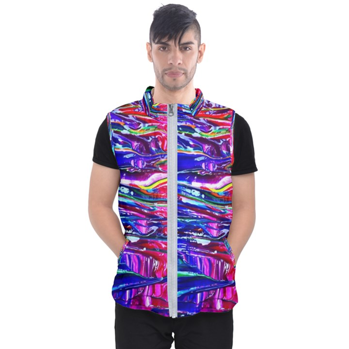 Paint Splatter - Rainbow Men s Puffer Vest