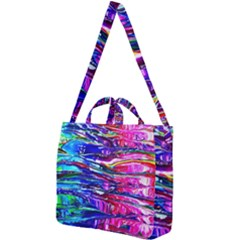 Paint Splatter - Rainbow Square Shoulder Tote Bag by WensdaiAmbrose