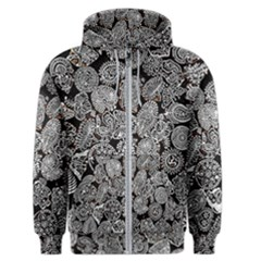 Black & White Paisley Men s Zipper Hoodie