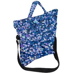 Blue Shimmer   Eco Glitter Fold Over Handle Tote Bag by WensdaiAddamns