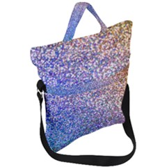 Pastel Rainbow Shimmer   Eco  Glitter Fold Over Handle Tote Bag by WensdaiAddamns