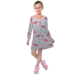 Pink Flamingos Kids  Long Sleeve Velvet Dress by WensdaiAmbrose