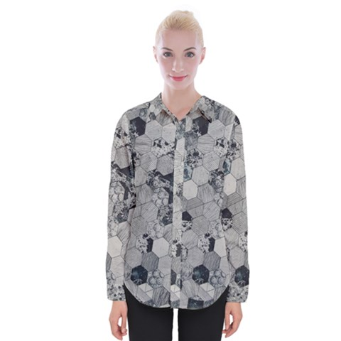 Grayscale Tiles Womens Long Sleeve Shirt by WensdaiAmbrose