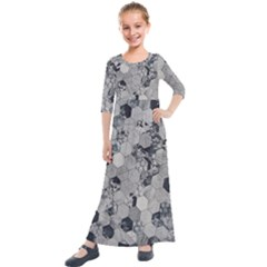Grayscale Tiles Kids  Quarter Sleeve Maxi Dress by WensdaiAddamns